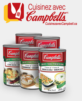 Cook with Campbell's logo and group of products