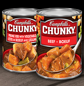 Campbell's Chunky beef on a spoon