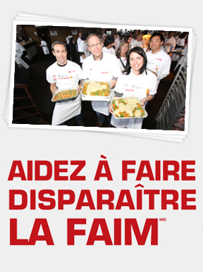Volunteer chefs holding food and help hunger disappear logo