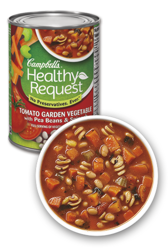 Campbell's Healthy Request Tomato Garden Vegetable with Pea Beans & Spinach
