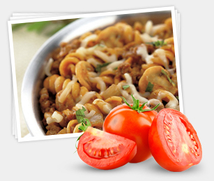 pasta dish and tomatoes