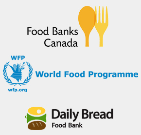 Food Banks Canada logo World Food Programme logo Daily Bread Food Bank logo