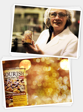 Campbell's factory worker and can of Nourish