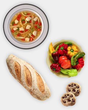 soup bread cookies vegetables