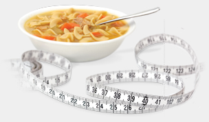 bowl of soup and tape measure