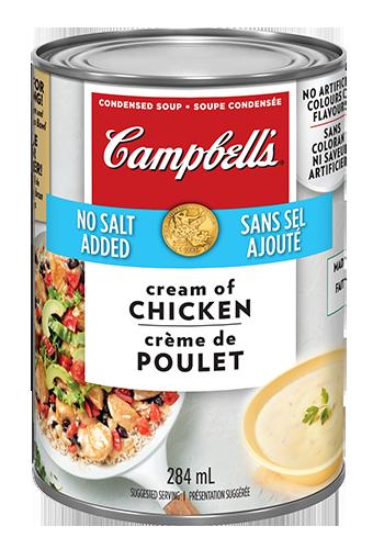 La soupe condensée CampbellMD Crème de poulet sans sel ajouté