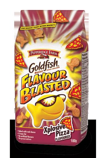 goldfish flavour blasted xplosive pizza flavoured